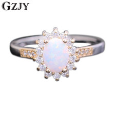 GZJY Beautiful Style Oval Flower Multicolor Fire Opal&AAA Zirconia Double Gold Color Ring For Women 6colors