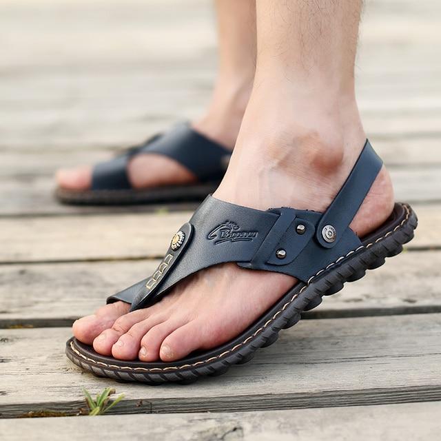 Men's Summer Genuine Leather Flip-Flops Slippers Beach Sandals Casual Shoes Moccasins Men Sandals Summer 4