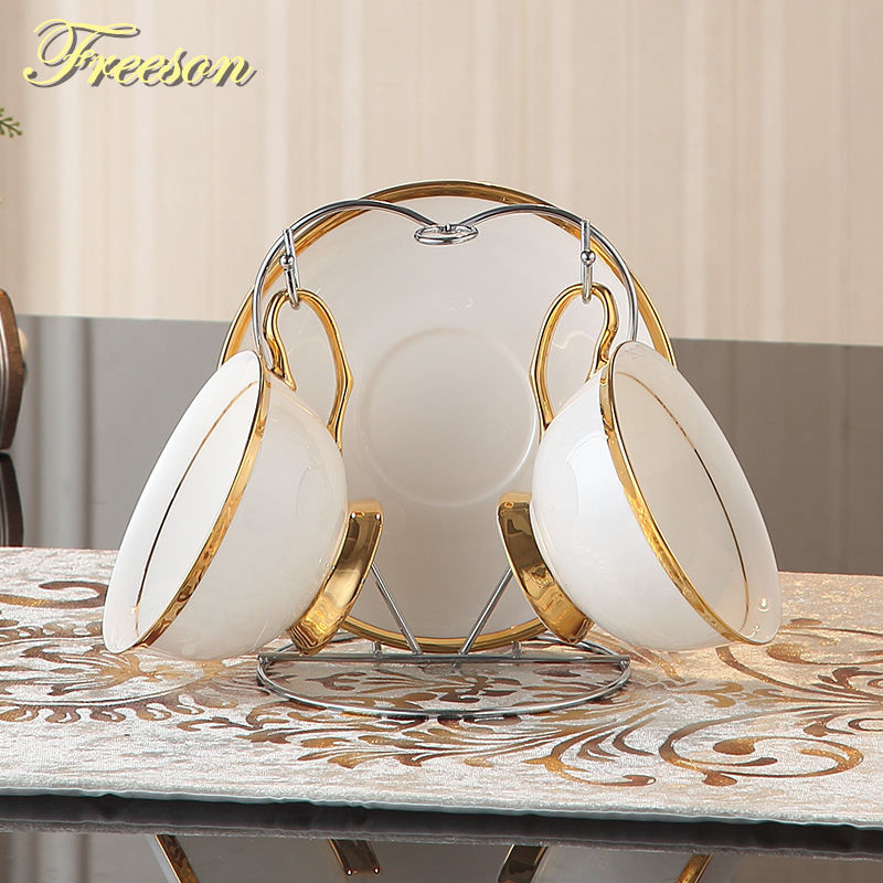 Gold Inlay Bone China Coffee Cup Saucer Spoon Holder Set British - Kitchen, Dining and Bar