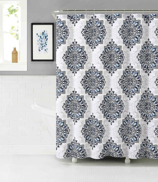 Tranquility Cotton Rich Fabric Shower Curtain With Medallion Design Navy White Mauve Gray