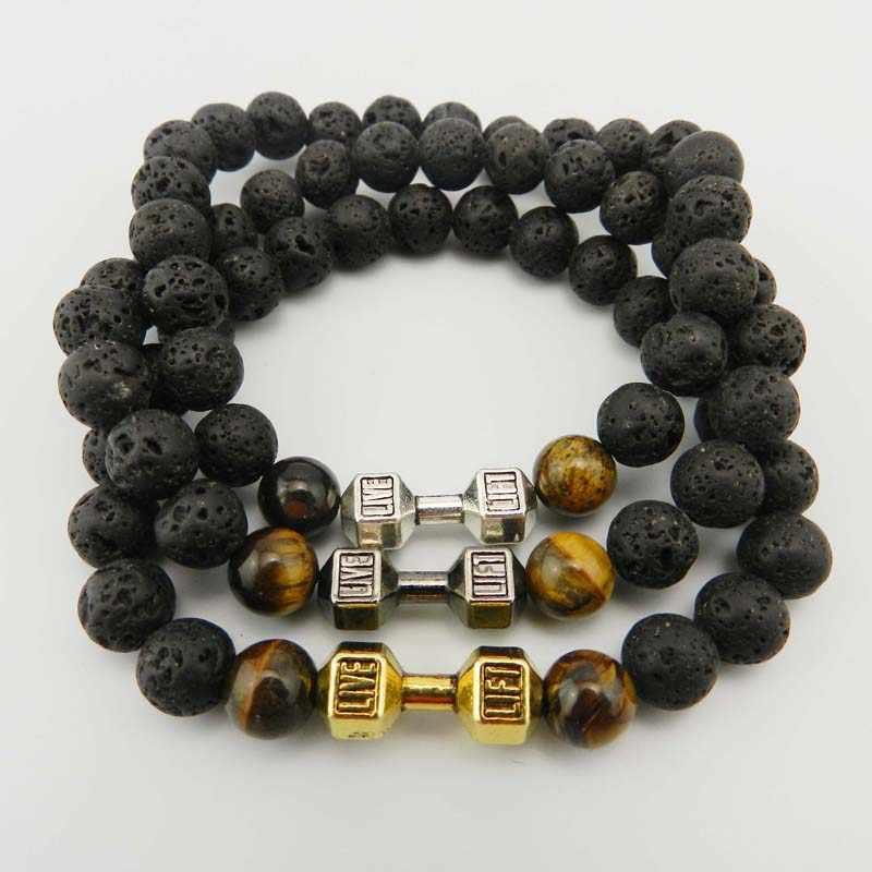 2017 vente au détail nouveau Design Bracelet de Lave pierre bijoux puissants GYM haltères Fitness mode Bracelets d'haltères pour hommes cadeau de fête