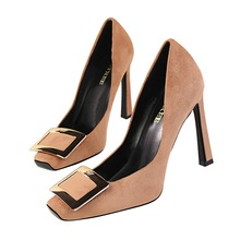 New fashion Metal buckle women pumps shoes thin heels square toe Sexy nightclubs women High heels shoes Was thin Star style pump