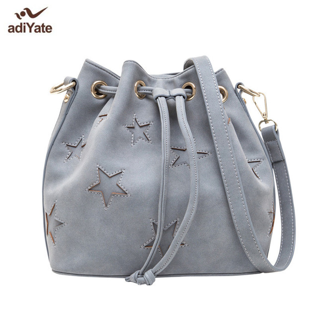 adiYate fashion Leather Suede Bucket Cheap Women Bags Star Pattern Cross Body  High Quality Leather Bags For Women 2017 Wholesal
