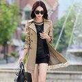 Casaco blusão feminino 9 tipos de cor sólida longas seções Coreano de Slim Plus Size trench coat casaco feminino das mulheres MZ801