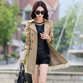 Windbreaker female coat 9 kinds of solid color long sections Korean Slim Plus size women's trench coat casaco feminino MZ801