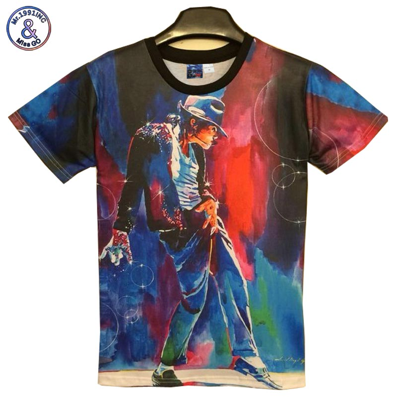 2017 Mr.1991INC New Fashion men's 3d T-shirt print King of Rock Roll Jackson 3d t shirt for men/Boy Tshirt Asia M/L/XL/XXL