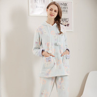 A58 2016 Autumn And Winter New Flannel Pajamas Long Sleeved Pants Women S Winter Thick Brand