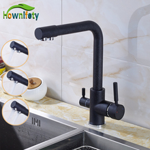 Solid Brass Double Handles Kitchen Sink Faucet Pure Water Faucet Purification Mixer Tap Deck Mounted