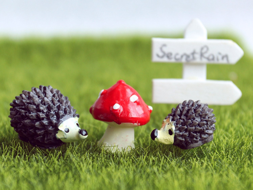 Buy 1 Lot Hedgehogs Mushroom Miniature Fairy Garden Decorations Mini Gnome Moss