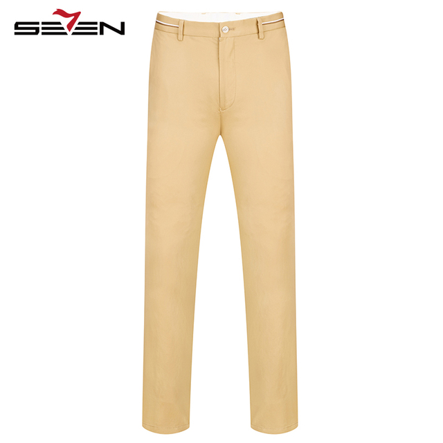 Seven7 Marca Hombres Pantalones Forman los Pantalones de Frente Plano Ligero Larga Básica Primavera Verano Sólido Regular Fit Pantalones Casuales 112S80110