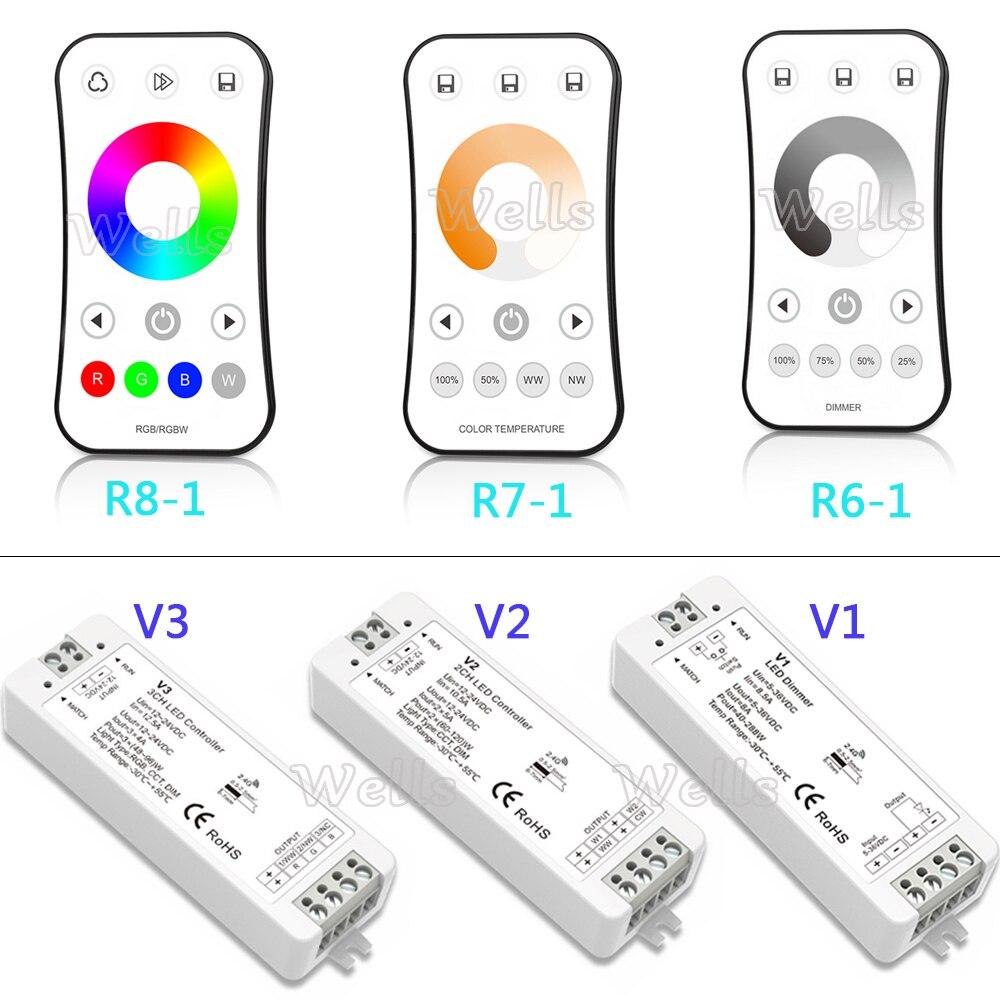 2,4G RF wireless Touch Fernbedienung dimmer 1CH 2CH 3CH led controller für Einzelne Farbe/farbtemperatur/RGB led-streifen