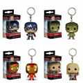 The Avengers Captain America FUNKO POP Keychain KeyRing Hanger Iron Man Hulk Thor Jhon Snow PVC Action Figure Collection Toys