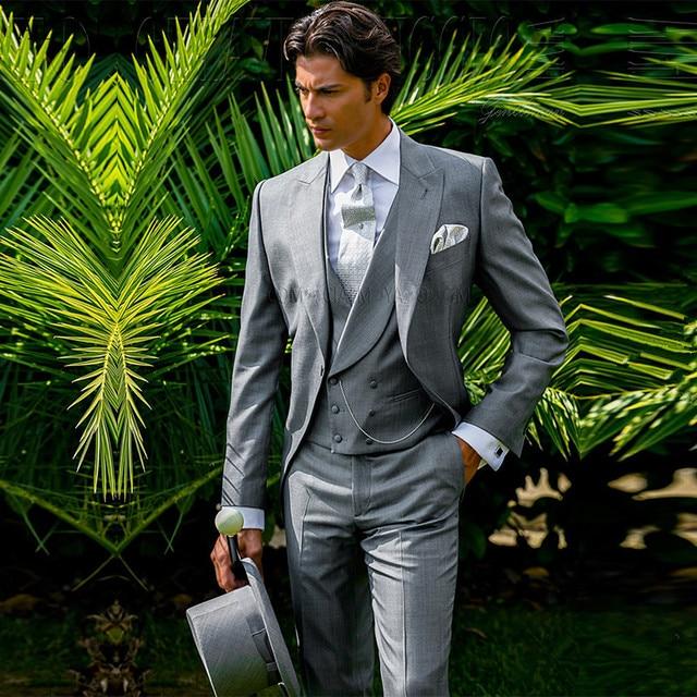 f91ef5d943c 2017 Business Casual Suit Men 3 Pieces Set Prom Party Formal Groom Wedding  Dress Groomsman Tuxedo Slim Fit Best Men Tail Coat