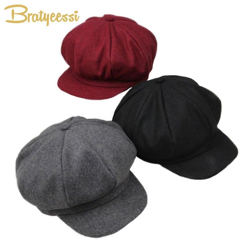 New Woolen Octagonal Baby Hats Retro Adjustable Cap for Girl Boy Children Hat for 2-6 Years 1PC