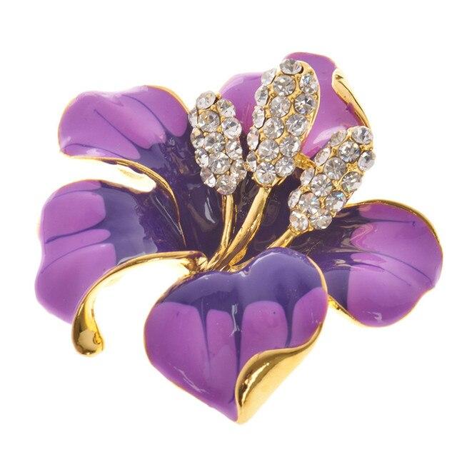 2016 горячие продажа Цветы Эмаль горный хрусталь Кристалл Цветок Лилии броши для женщин Свадебные Брошь бесплатная доставка