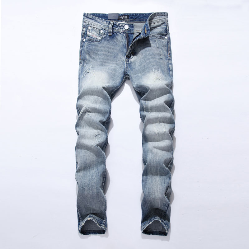 Fashion leisure Jeans Men Famous Dsel Brand Blue Jeans Trousers Male Denim Straight Cut Fit Jeans Pants Asian size:29-40 981 envmenst 2017 male floral bottom blue hole ankle length jeans men s jeans casual zipper straight denim trousers size 28 40