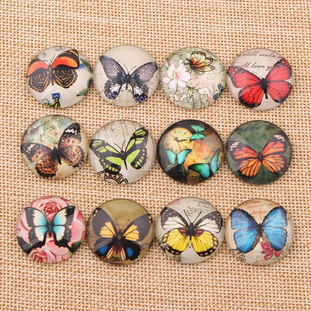 onwear handmade mix vintage butterfly photo glass cabochons 10mm 12mm 14mm 18mm 20mm 25mm diy earrings pendant accessories new fashion 5pcs lot 25mm handmade photo glass cabochons beautiful butterfly series