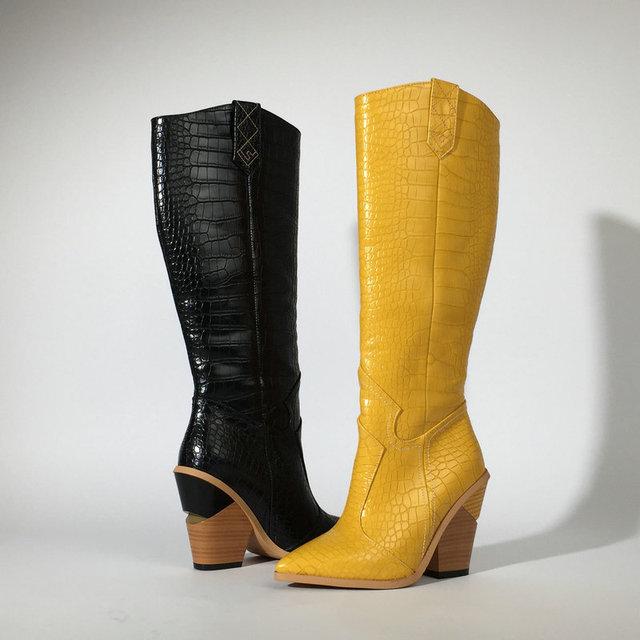 สีดำสีเหลืองสีขาวเข่าสูงรองเท้าบูทคาวบอยตะวันตกสำหรับผู้หญิง Winter BOOTS รองเท้าผู้หญิง Pointed Toe รองเท้า Cowgirl 2019