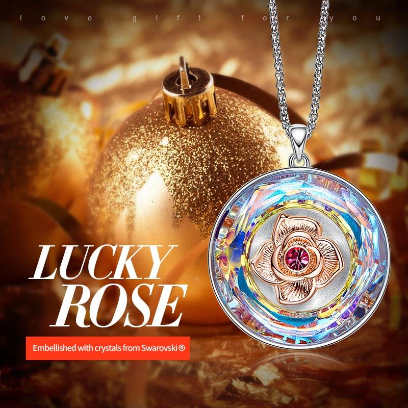 Image 2 - CDE Women Gold Necklace Embellished with crystals 18K Rose Gold  Dancing Rose Flower Pendant Mothers Day GiftNecklaces