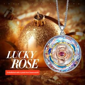 Image 2 - CDE collier dansant en Rose, orné avec cristal, pour femmes, collier I LOVE YOU gravé avec cristal, cadeaux pour la fête des mères