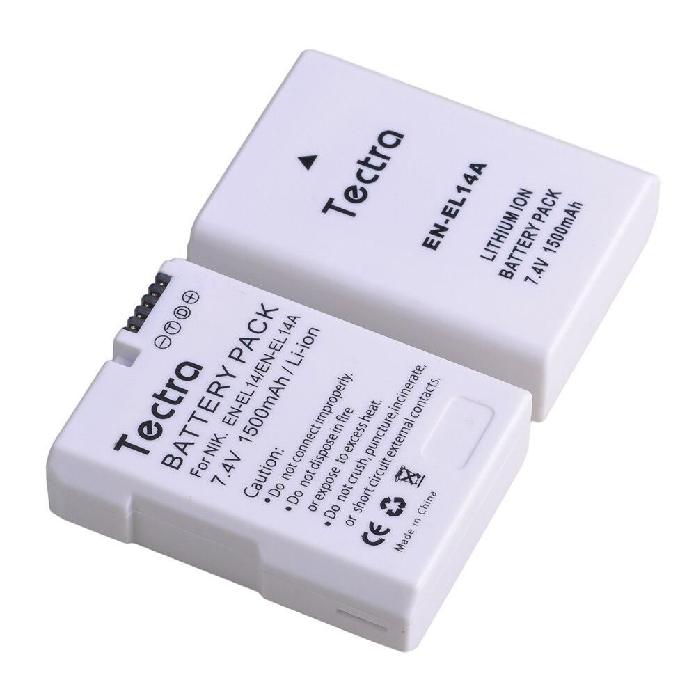 1 pièces 1500mAh EN-EL14A EN-EL14 ENEL14 Batterie pour Nikon D3100 D3200 D3300 D3400 D3500 D5600 D5100 D5200 P7000