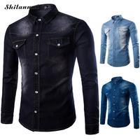 2017 New Autumn kausal denim shirts männer langarm patchwork mens shirts regular fit Baumwolle Dicken Männlichen Denim camisa masculina