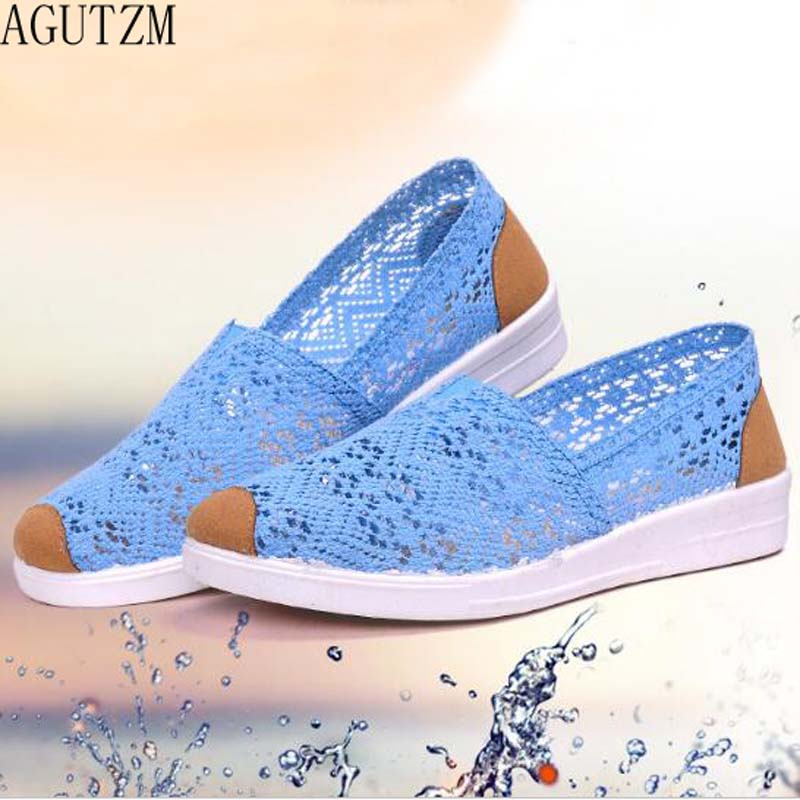 AGUTZM 2018 Summer Flat Shoes Woman Comortable Casual Flats Outdoor Women's Shoes Leisure Hollow Breathable Women Shoes V53 2018 hot sale summer flat shoes women comortable casual lace up flats breathable outdoor women shoes mesh zapatillas sneakers