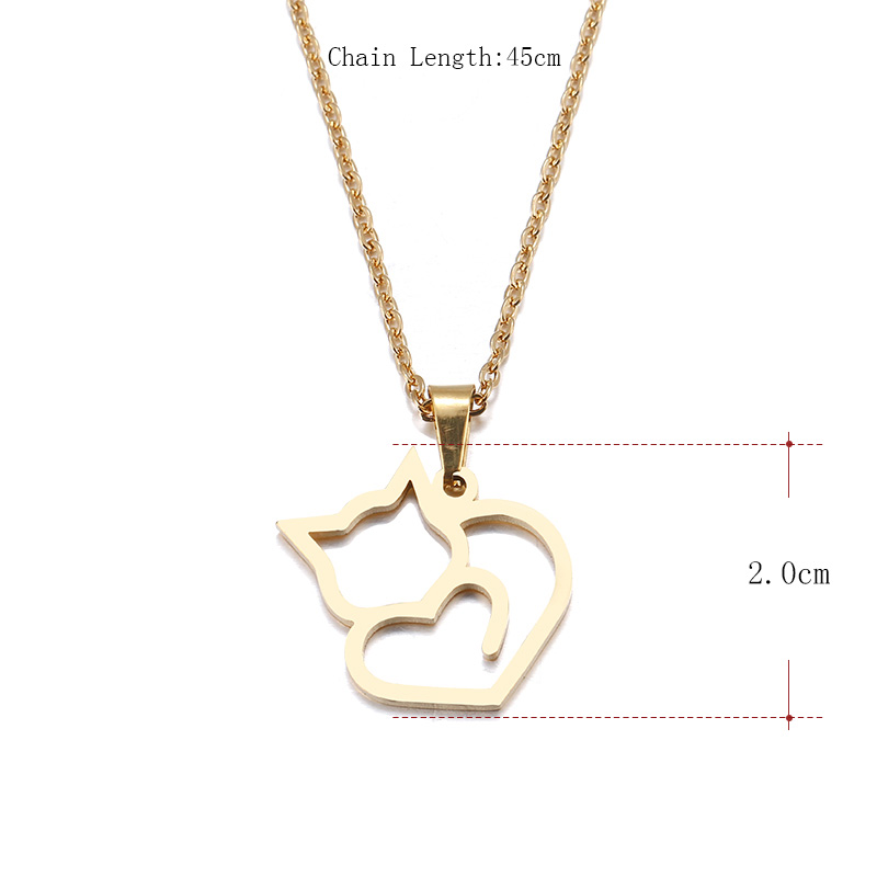 DOTIFI Stainless Steel Necklace For Women Lover's Gold And Silver Color Cat Exquisite Pendant Necklace Engagement Jewelry 1