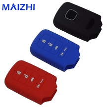 maizhi 4 Buttons Silicone Car Key Cover Case For Honda 2013 2014 for Accord Civic Pilot CRV HRV EX EXL Remote keyless holder