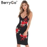 BerryGo Embroidery Flower V Neck Sexy Dress Women Vintage Backless Evening Party Bodycon Dress Black Zipper