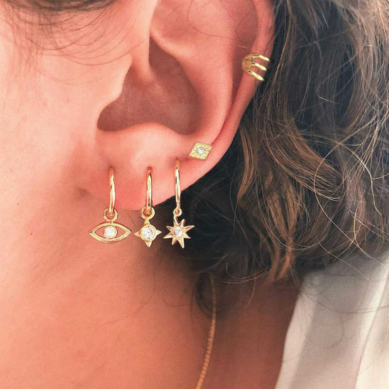 New Earings Punk Fashion Jewelry Women Popular Personality Porous Earrings For Women Set Suit Eyes Starlight Punk Wind Wholesale