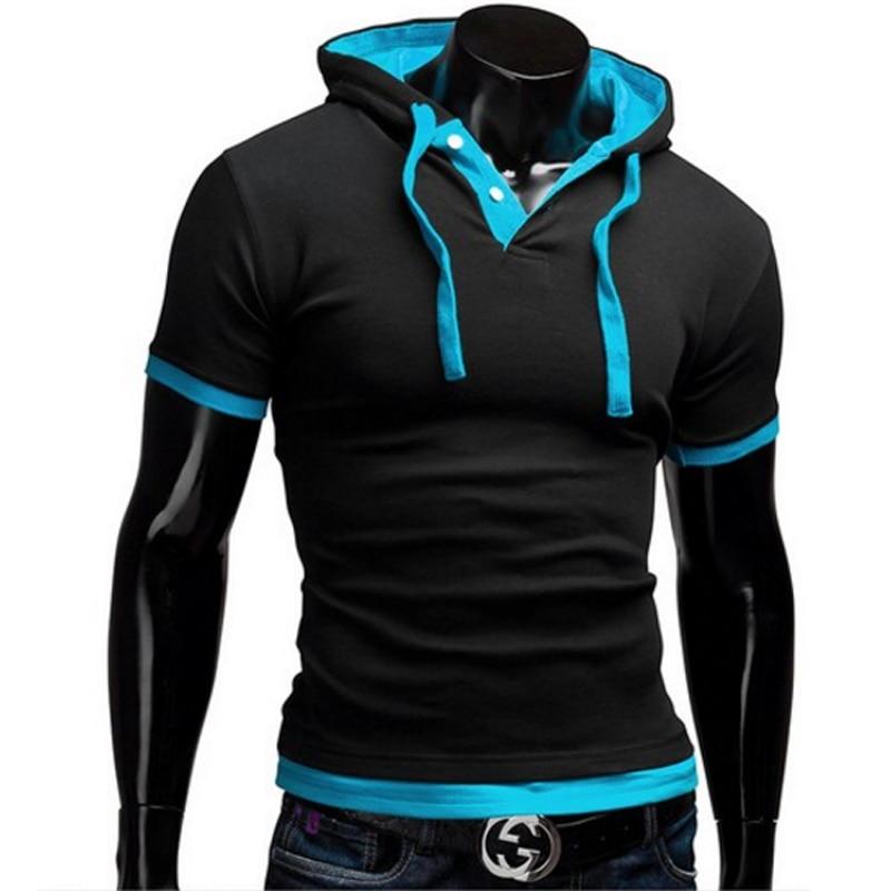 T Shirt Men  2019 Fashion MenS Hooded Collar Sling Tops & Tees Short Sleeve Slim Male Large Size 5XL