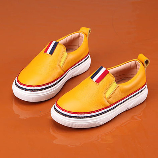 2017 Luxury Genuine Leather Boys Loafers  Slip on Children Boys Leather Casual Shoes White Children Boys Shoes Chaussure Garcon