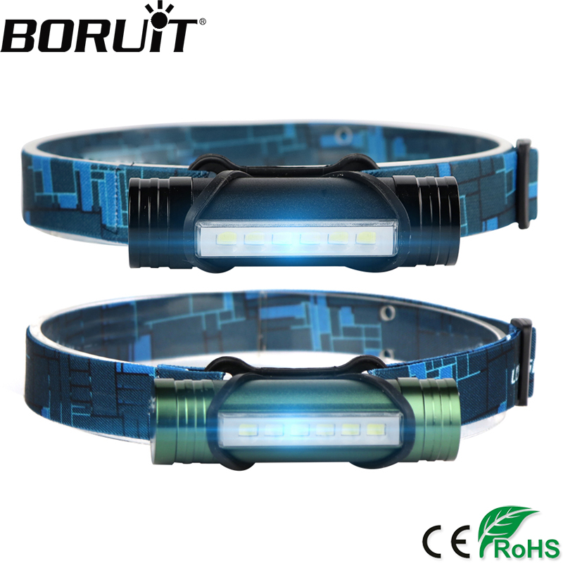 BORUiT 6 LED 500LM ajovalaisimen 3-tila USB-ladattava ajovalaisin Power Bank-taskulamppu Kalastus Frontal Lantern Hunting Head Torch