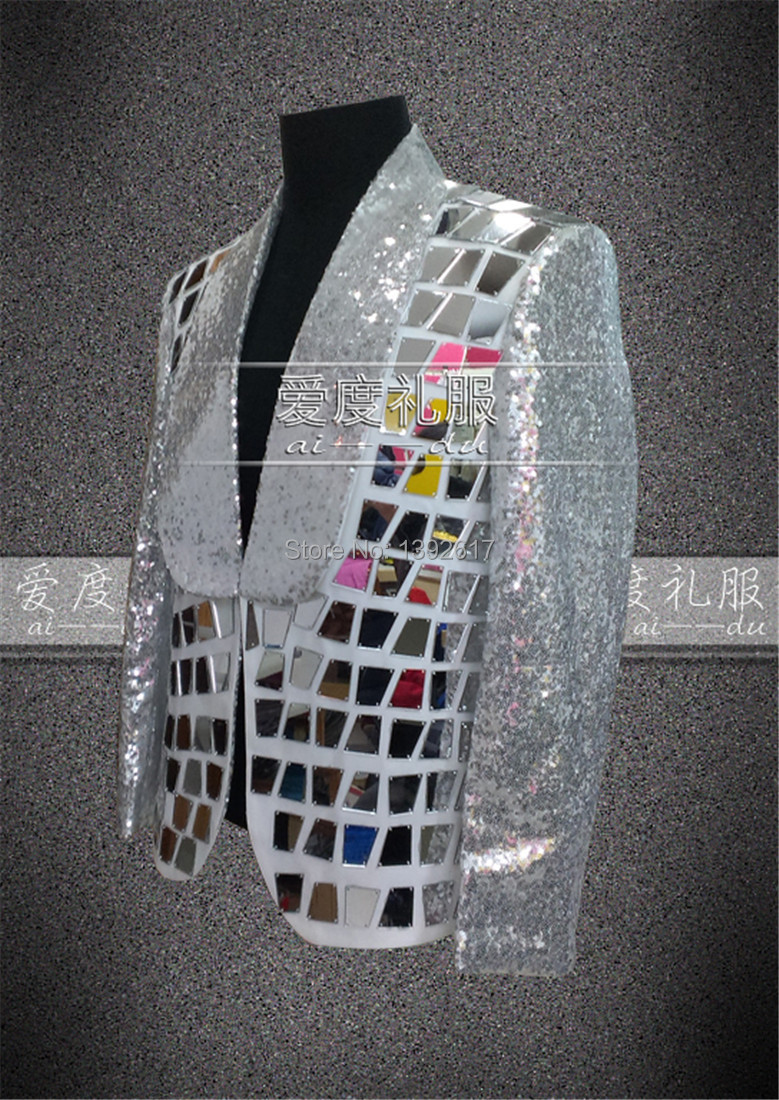mirror jacket. silver sequins mirror patch decoration tuxedo jacket /wedding/stage performance/this is only jacket-in suit jackets from men\u0027s clothing \u0026 accessories on