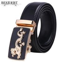 Melhor YBT Dragão Dos Homens da Correia de Cintura Cinta Masculina de Alta Qualidade Imitação de Luxo Famosa Marca Cintos de couro Para Homens Fivela Automática