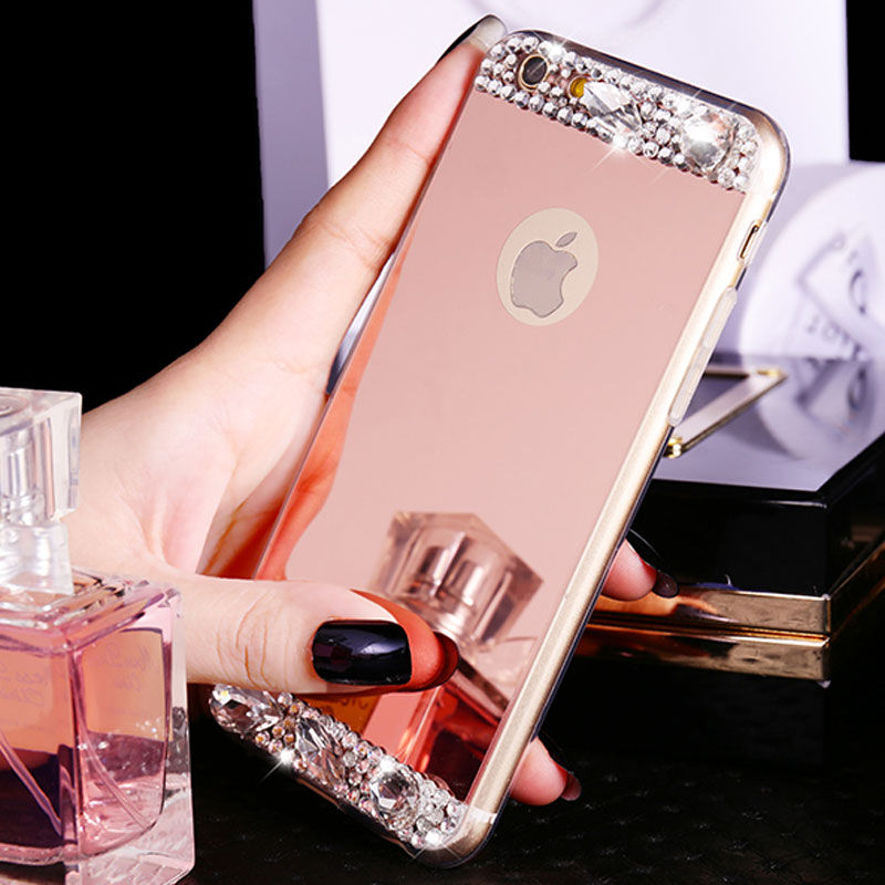 For coque iphone 5s 6 6s plus 7 plus strass bling glitter for Coque iphone 4 miroir