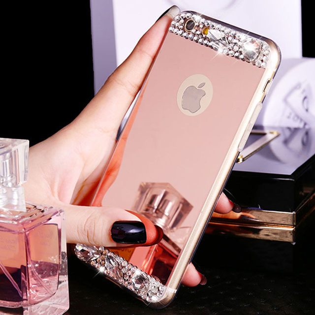 For coque iphone 6 6s 5s 6 plus 7 plus strass bling for Coque iphone 6 miroir