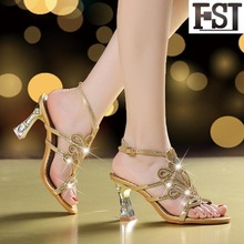 купить FSJ Sandals Women Shoes Genuine Leather Cow Leather High Heel Square Heels Buckle Strap Solid Crystal Rome EU Size 34-40 по цене 3128.22 рублей