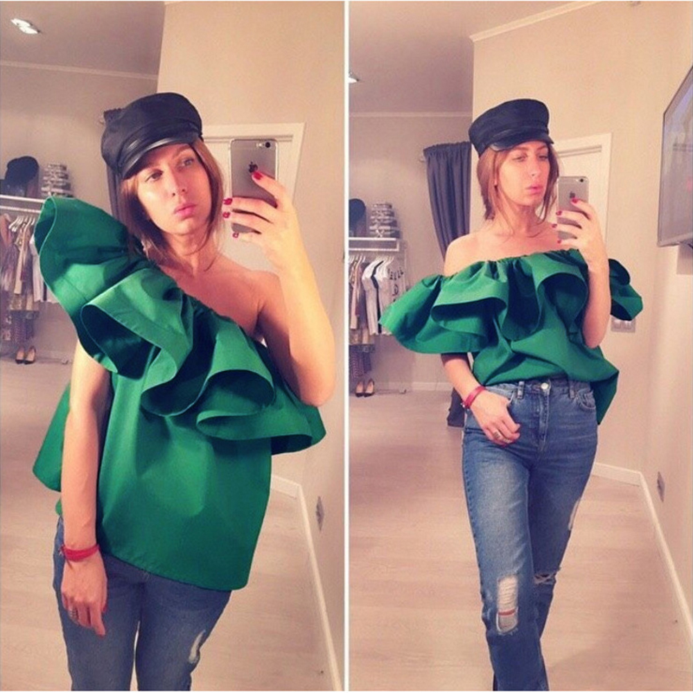 8747c67531 Sexy slash neck ruffles women tops tees Off shoulder beach summer style  tops Women green shirt party tube top