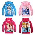 Kids Clothes Girls Elsa Anna Hoodie Vestidos Costume Mesh Infantis Sprots Hooded Snow Queen Princess Tees For 2 4 6 8 10 Years