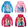 Ropa de los niños Niñas Elsa Anna Con Capucha Vestidos Infantis Sprots Traje de Malla capucha Snow Queen Princesa Camisetas Para 2 4 6 8 10 años