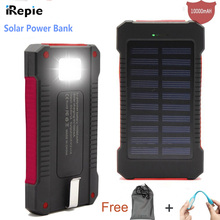Universal 10000mAh Solar Power Bank Emergency LED Light Dual USB Port Solar Panel External Battery Portable for Mobile Phone