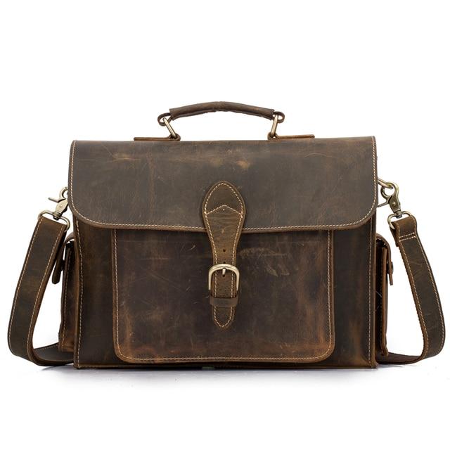 Yishen Vintage Genuine Leather Men Briefcase Business Male Handbags Large Capacity Shoulder Crossbody Bag Messenger