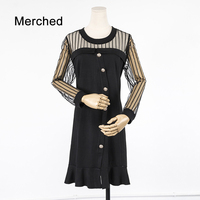 Merched Elegant Mesh Hollow Out Patchwork Women Dress Luxury Party Button Solid Mini Dress Vintage 5XL