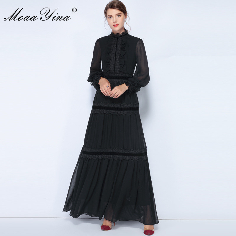 MoaaYina Fashion Designer Dress Spring Women Lantern Sleeve Lace Ruched Spliced Casual Elegant Party Chiffon Maxi