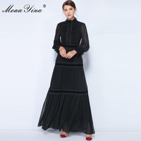 MoaaYina Fashion Designer Dress Spring Women Lantern Sleeve Lace Ruched Spliced Casual Elegant Party Chiffon Maxi Slim Dresses