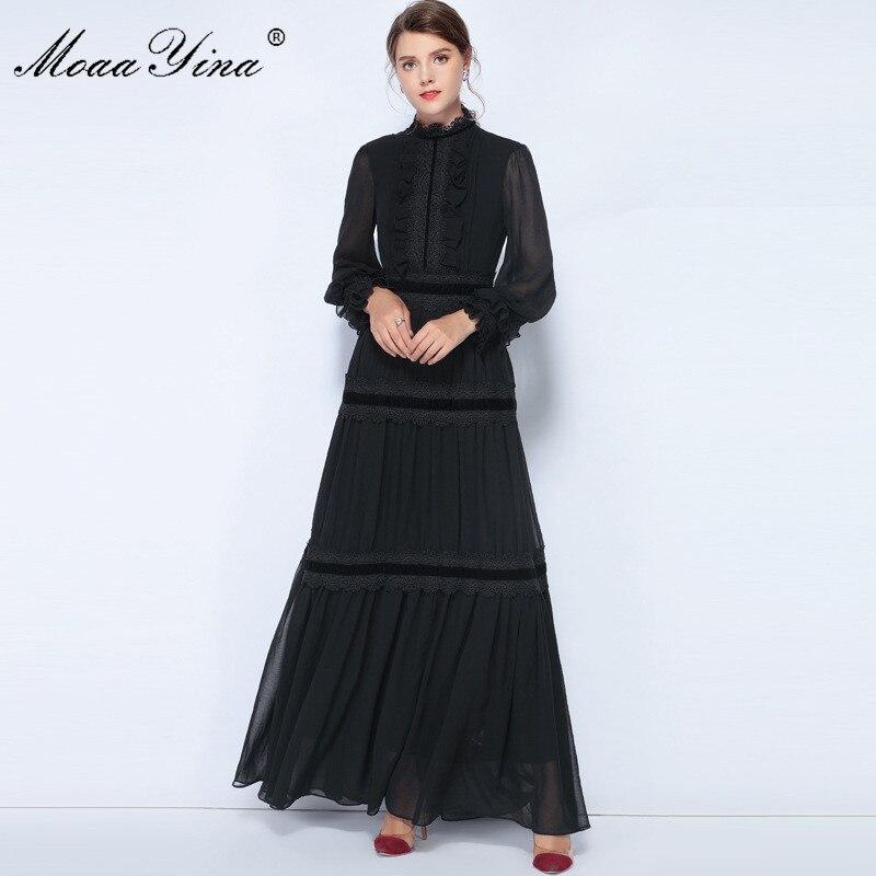 MoaaYina Mode Designer Robe Printemps Femmes Lanterne Manches Dentelle Ruché Spliced Casual Élégant Mousseline de Soie Parti Maxi Slim Robes