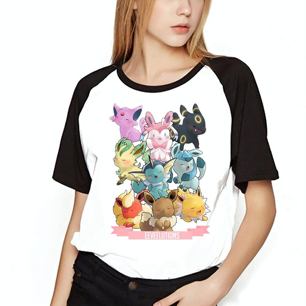 23f6d7c4 Women's T Shirt Pokemon Eevee Evolution Artsy Printed Baseball Girl's Tee