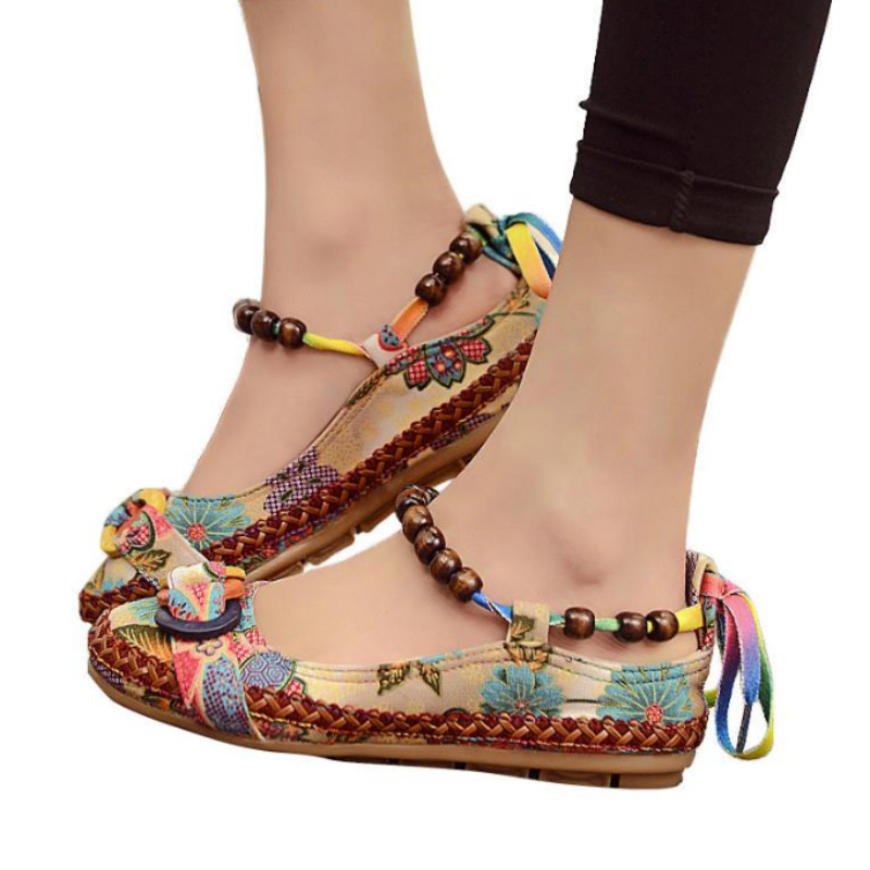 2018 New Fashion Women Ethnic Lace Up Beading Round Toe Comfortable Flats Colorful Loafers Casual Embroidered Cotton Shoes vintage women linen shoes thai cotton canvas owl embroidered cloth single national flats woven round toe lace up shoes woman